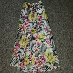 Nwt Style We yellow black floral skirt small